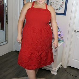 Red Tiered Dress with Criss Cross Straps | 40